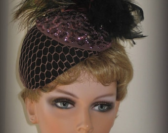 Vintage Fascinator Cocktail Hat Sequins Feathers & Veil  Old Hollywood Glamour Peakcock Ostrich Black Feather Plume