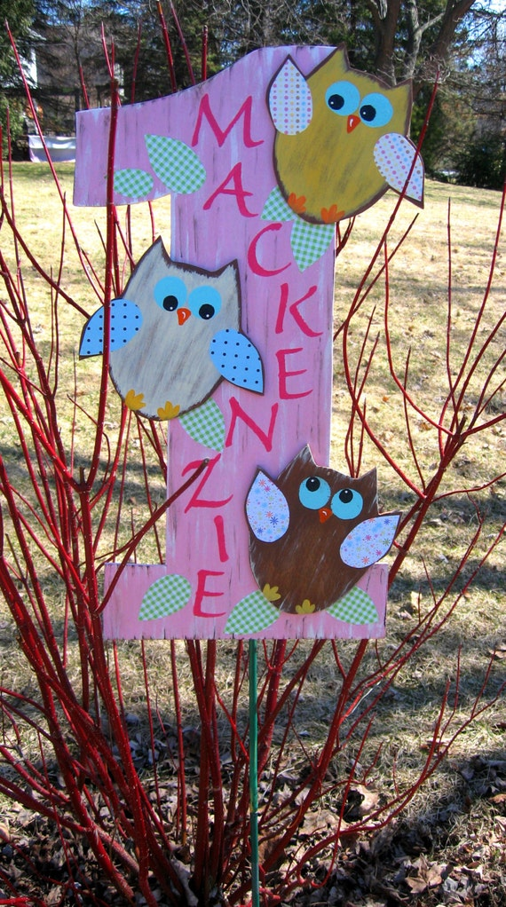 OWL Birthday Sign - Hand Painted Wood Keepsake - Gift Table Centerpiece - Nursery Room Wall Hanging