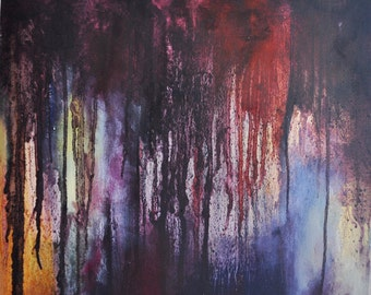 """Original Abstract Painting Dark Rain Purple Violet Black Modern Wall Art UNSTRETCHED Rolled in a Tube 20x20"""""""