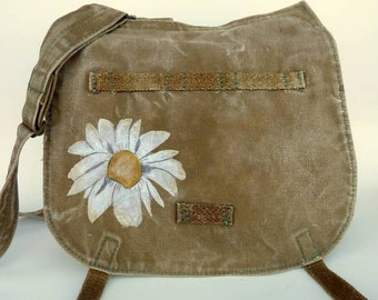 Grunge Daisy Hand Painted on Vintage Canvas Czech Military Bag.