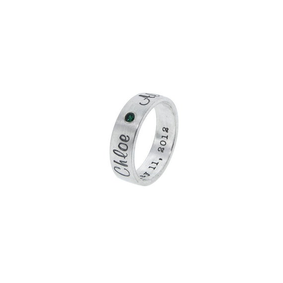 Personalized Silver Birthstone Ring - New Mother Jewelry - Double Sided Text