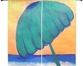 "Beach umbrella shear curtains available in 60"" or 84"" lengths"