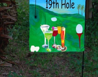 Golf 19th hole Garden or Yard Flag from art