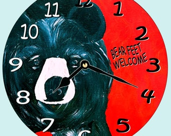 Black bear art wall clock - available in 2 sizes