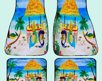 Mermaid Tiki Beach Bar Art Car Mats front and rear from my original design