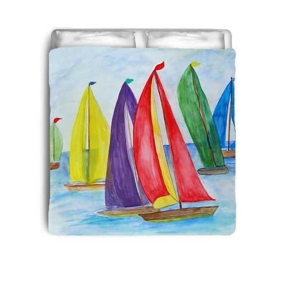 Colorful Sails Sailboats Nautical Beach Comforters By Maremade