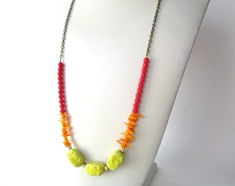 """Long colorblock necklace, yellow orange red necklace, 31"""" 34"""" beaded chain necklace with tangerine coral, yellow ceramic and red glass beads"""