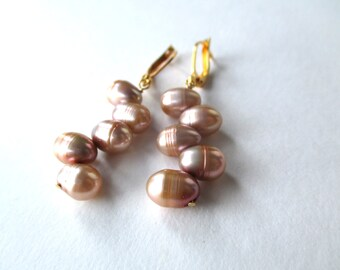 Mocha pearl earrings, genuine freshwater dancing pearl earrings with gold plated leverback earwires