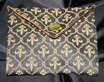 Clutch bag - fabric - black gold fleur de lis print - 14 x 9 - clutch