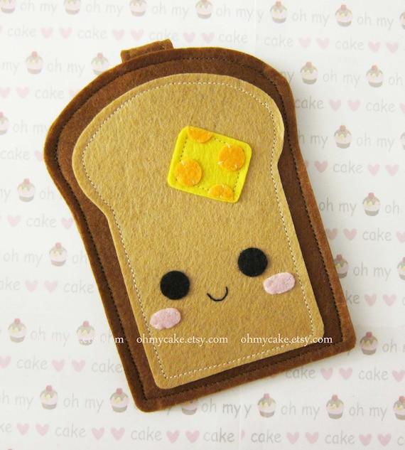 "iPhone sleeve, felt iPhone sleeve, iPhone case, felt iPhone case, iPhone 6 plus sleeve, iPhone 7 case, ""Toast Bread design"""