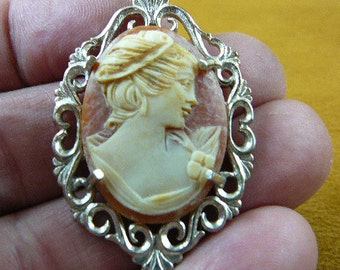Vintage Woman with ribbon in her hair oval carved shell CAMEO sterling silver pin c1308