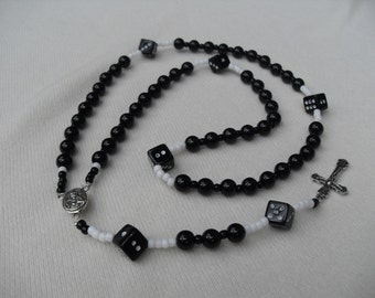 Rosary Dice Black and White Normal Size Silver Middle Medal and Crucifix
