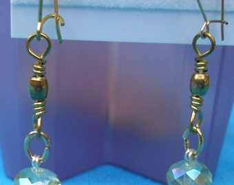Vintage 14KG Ear Wires with Brass Swivels and Austrian Crystal Soft Green Crystal Bead Dangle Lightweightt