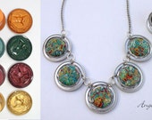 Mixed Media Necklace - Recycled Pressed Coffee Capsule and  Polymer Clay Circles