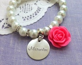 Personalized, name, stretchy glass pearl rose bracelet. Design your OWN. CHILD sized.
