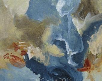 Abstract Expression Art Original Contemporary Painting indigo taupe gray. Musing 110