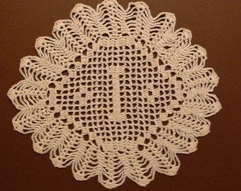 "Custom Handmade Crocheted Initial Doily   ""I"""