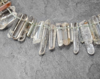 Phantom Quartz Tourmaline Polished crystal point beads, double terminated  Pink and Green 10-40 mm Top Drilled