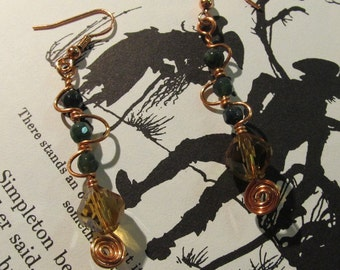 Item 2182 Green Jasper wire wrapped earrings