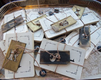 Vintage Flinch Cards And Tiny Brass Stencil Mixed Media Supply Kit from Rustysecrets
