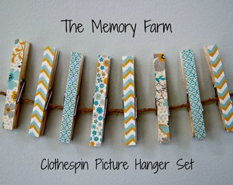 Clothespin Picture Hanger Set, Photo Hanger Clothespins