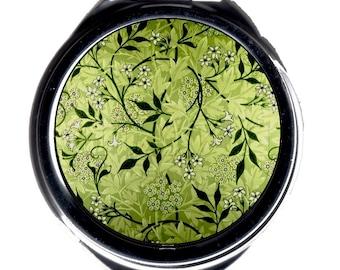 Compact Mirror - Delicate Vintage William Morris fabric design - Jasmine