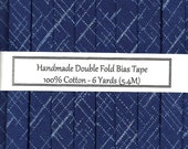 Double Fold Bias Tape - Navy Blue Linen Print - 6 Yards
