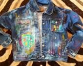 Custom for Lori Girls Distressed Peace Sign Denim Jacket