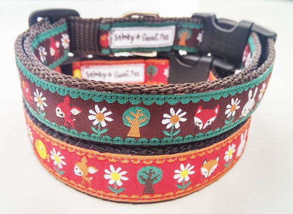 The Fox in the Forest  - Dog Collar / Adjustable / Pet Accessories / Handmade / Fox / Deer