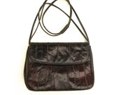80s Eel Skin Shoulder Bag BROWN EEL Skin Purse Nice Details