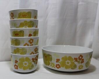 Set of Corning Centura Summerhill Bowls, Large Vegetable or Dessert Bowl & 6 Individual Bowls