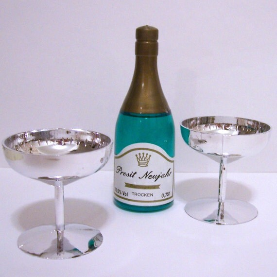 Champagne Bottle and Silver Glasses Cake Toppers ...