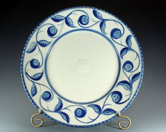 Handmade Pottery Platter or Plate, Blue and White Scroll Design Handpainted.SKU142-3