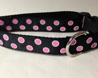 Dog Collar, Pink Dots,  1 inch wide, adjustable 18-26 inches, quick release