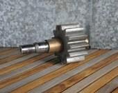 Industrial Gear on Brass Shaft - Iron Art Supply