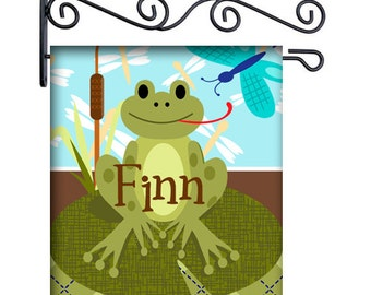Lily Pad Frog Custom Personalized Yard Flag - 13.5 by 18.5 inches - your name and or initial