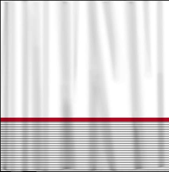 Custom Shower Curtain Grey Classy Stripe Bottom Red Accents