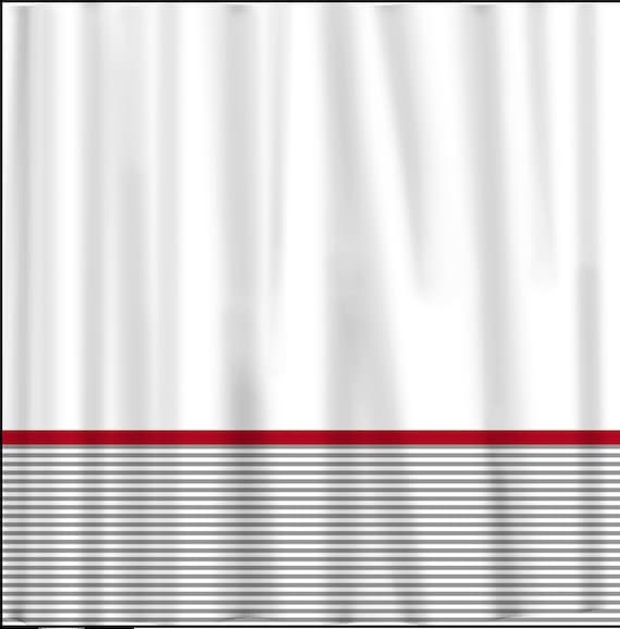 Custom shower curtain grey classy stripe bottom red accents can do
