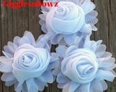 New to Shop- 3 Inch Chiffon Rolled Rose with Ruffles- WHiTE,  Set of THREE