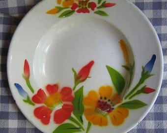 Enamel Bowl with Flowers