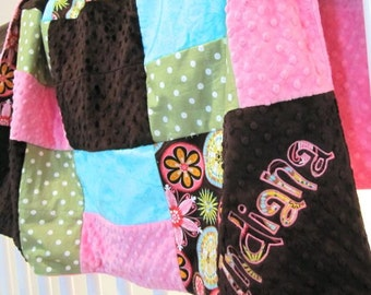 Minky Quilt Girl, Personalized patch crib baby blanket, carnival bloom toddler bedding, appliqué ruffle, brown pink turquoise michael miller