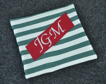Personalized Reusable Sandwich Bag Upcycled Fabric Stripes Recycled Plastic Lining Velcro Enclosure Large Initials Monogram
