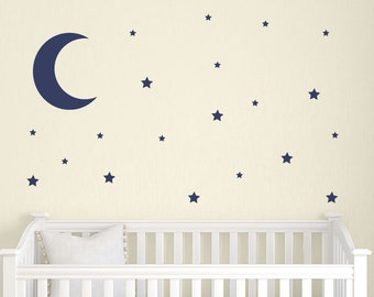Moon Wall Decal Etsy