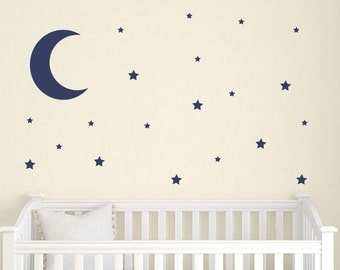 moon and stars wall decal set childrens wall decals nursery wall decals star