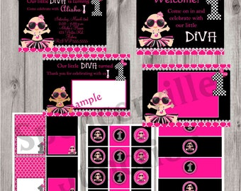 DIGITAL Little Diva 1st Birthday Invitation With Party Pack Diy Print your Own