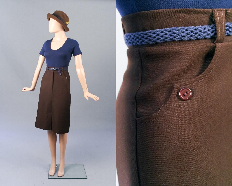 vintage fall fashion autumn brown a line high waisted skirt