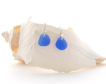 Fancy Ear Wire w/Cornflower Blue Sea Glass/Beach Glass