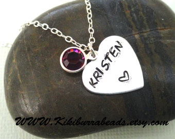 Personalized Name Necklace, hand stamped heart necklace, name necklace, birthstone necklace,  mothers necklace, sisters necklace, daughters