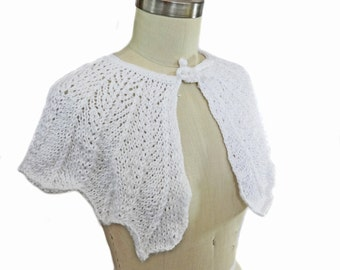 White Wedding Capelet - Hand Knit - Bridal Shawl