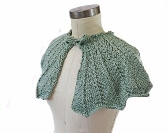 Seafoam Bridal Capelet - Hand Knit Cape - Bride Cover Up